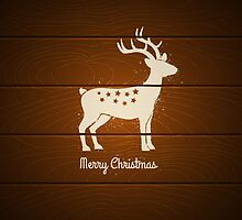 deer on wooden background by SIR13