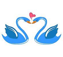 Two cartoon swans in love by berlinrob