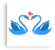 Two cartoon swans in love Canvas Print