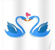 Two cartoon swans in love Poster