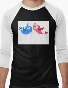 Two cartoon birds in love Men's Baseball ¾ T-Shirt