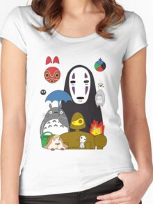 Ghibli mix Women's Fitted Scoop T-Shirt