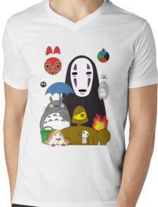 Ghibli mix Mens V-Neck T-Shirt