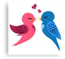 Two cartoon birds in love Canvas Print