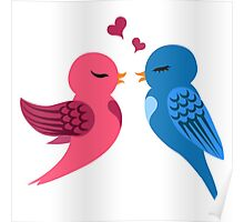 Two cartoon birds in love Poster