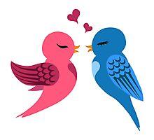Two cartoon birds in love Photographic Print