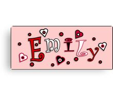 Hearts And Dots Name Art - Emily Canvas Print