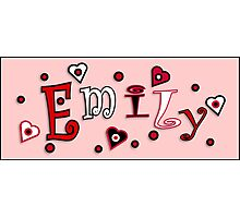 Hearts And Dots Name Art - Emily Photographic Print