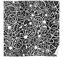 Tangled Up in Bikes 3 - Grey Poster