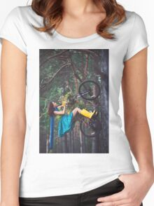 on a bike Women's Fitted Scoop T-Shirt