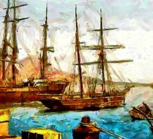 Ships in the harbor, Naples, Italy - all products bar duvet by Dennis Melling