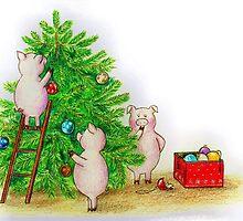 Christmas pigs by LaAmapolaRoja