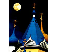 Moon Over Orthodox Photographic Print