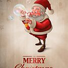 Santa Claus and the bubbles soap Greeting card by jordygraph
