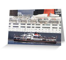 QE2 meets the Mersey Ferry Greeting Card