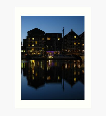 Night time at the Salthouse Hotel, Ipswich Art Print