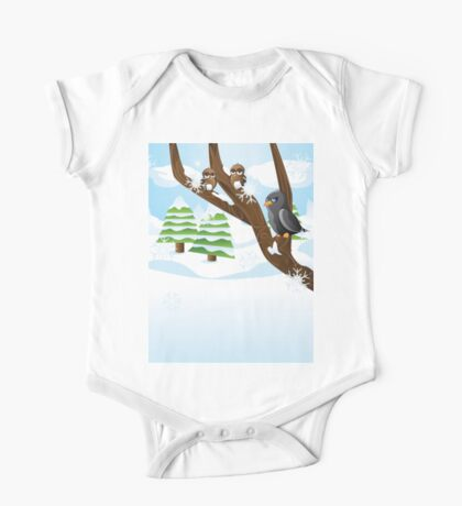 Birds on branch One Piece - Short Sleeve