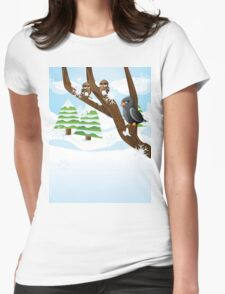 Birds on branch Womens Fitted T-Shirt