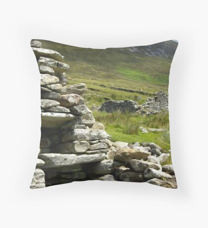 Famine House, Slievemore, Achill Island Throw Pillow