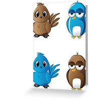 Brown and blue birds Greeting Card