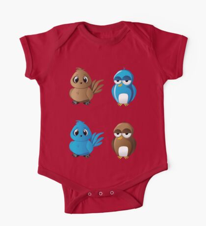 Brown and blue birds One Piece - Short Sleeve