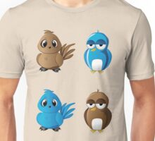 Brown and blue birds Unisex T-Shirt