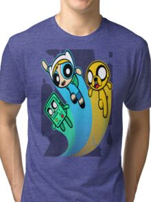 A mashup of Adventure Time and the Power Puff team Tri-blend T-Shirt