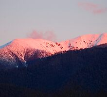 Snowy Mountain Sunset, Harrietville, Victoria Australia by Philip Johnson