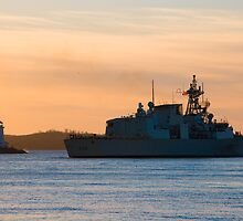HMCS MONTREAL at dawn by Sandy  McClearn