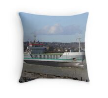 Freighter on the Medway Throw Pillow
