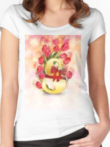 Greeting Card for Women's Day Women's Fitted Scoop T-Shirt