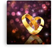Romantic background with wedding rings 5 Canvas Print