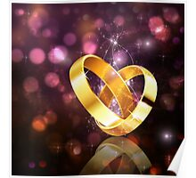 Romantic background with wedding rings 5 Poster