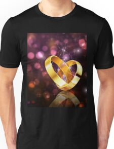 Romantic background with wedding rings 5 Unisex T-Shirt
