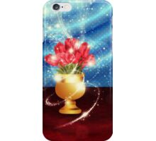 Tulips in vase on table iPhone Case/Skin