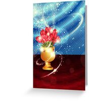 Tulips in vase on table Greeting Card