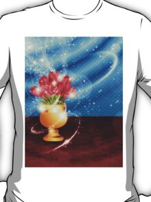 Tulips in vase on table T-Shirt
