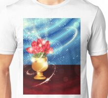 Tulips in vase on table Unisex T-Shirt