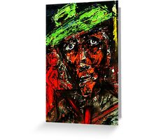Red in Green Hat Greeting Card