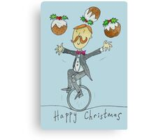 Christmas Pudding Juggling Unicyclist  Canvas Print