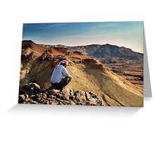 A local beduin looks out over the desert mountains Greeting Card