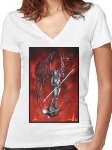 Robot Angel Painting 007 Women's Fitted V-Neck T-Shirt