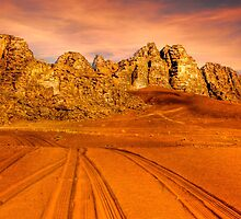 Sandstone valley in Wadi Rum, Jordan. by PhotoStock-Isra