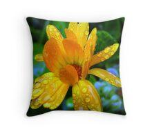 Yellow Rainflower Four Throw Pillow