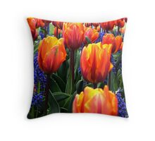 Orange and Blue Tulips Throw Pillow