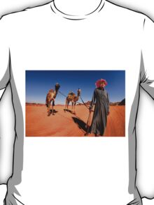A Bedouin with his two camels.  T-Shirt