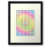 Rainbow Smiley Faces Abstract One Framed Print