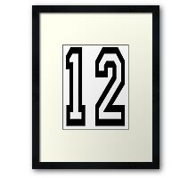 TEAM SPORTS, NUMBER 12, twelfth, twelve, ONE, TWO, Competition,  Framed Print