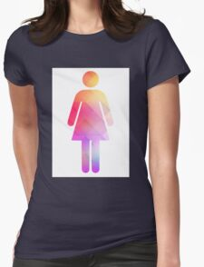 Multicolor retro woman symbol Womens Fitted T-Shirt