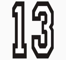 TEAM SPORTS, NUMBER 13, THIRTEEN, THIRTEENTH, ONE, THREE, Competition,  Kids Clothes